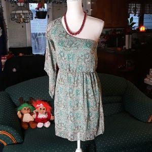 Mint green & brown paisley fun sleeved dress